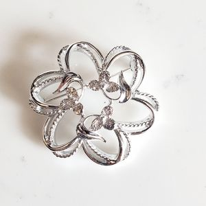 Vintage Sarah Coventry Flower Brooch Silver Tone